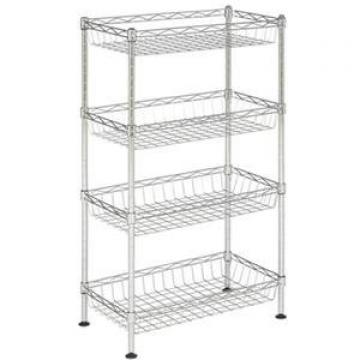 6 Tier Adjustable Metal Wire Shelving Units Convenience Stores Black Wire Rack